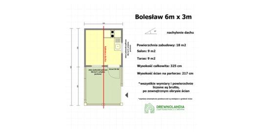 Domek Letniskowy z drewna Bolesław- 6x3m