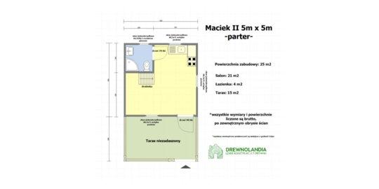 Domek letniskowy z drewna Maciek II 5x5 + tars 5x3m
