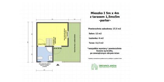 Domek Ogrodowy Mieszko I 4x5m + taras  boczny 1,5x5m