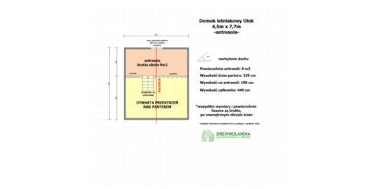 Drewniany domek Ogrodowy Olek 7,7x4,5m