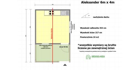 Domek Letniskowy Aleksander - 6x4m, domek z drewna