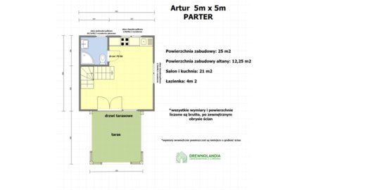 Domek Letniskowy Artur 5m x 5m + Altana Działkowa 3,5m x 3,5m