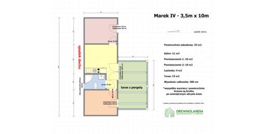 Domek parterowy Marek 3,5m x 10m z werandą 3m x 5m