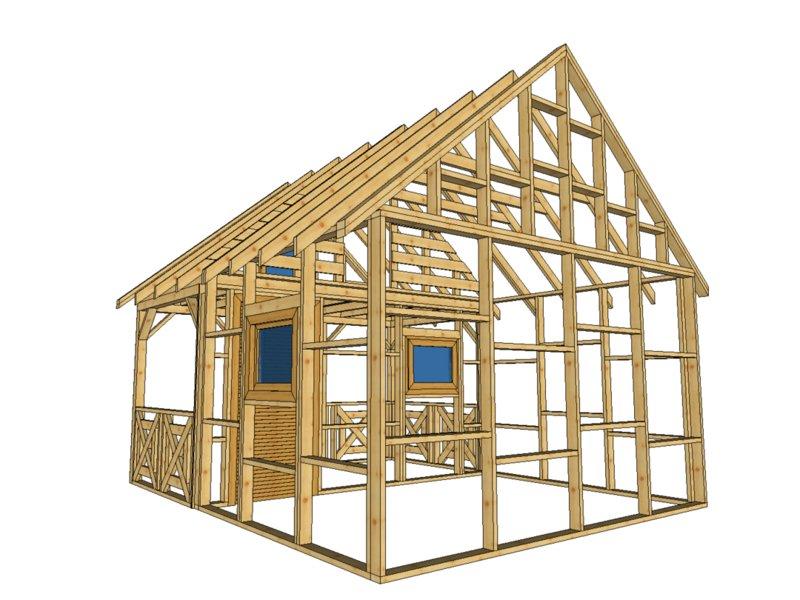 Domek z tarasem drewno