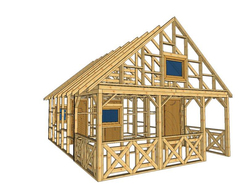 Domek z drewna szkielet