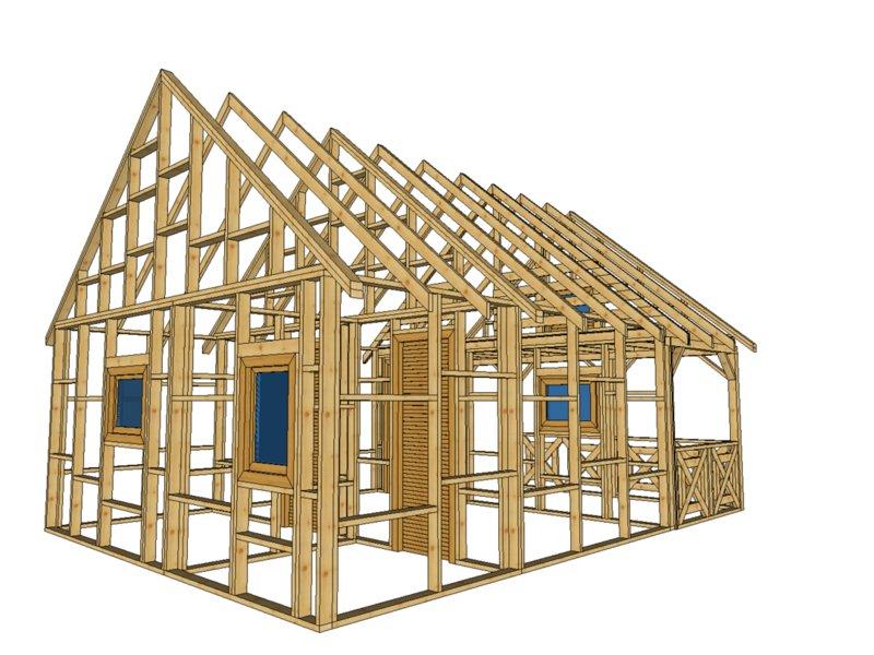 szkielet domku letniskowego z poddaszem