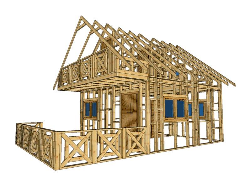szkielet domu z ogródkiem