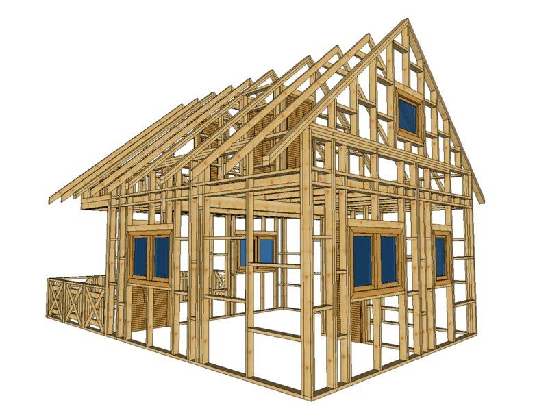 szkielet domku letniskowego z tarasem, piętrowy