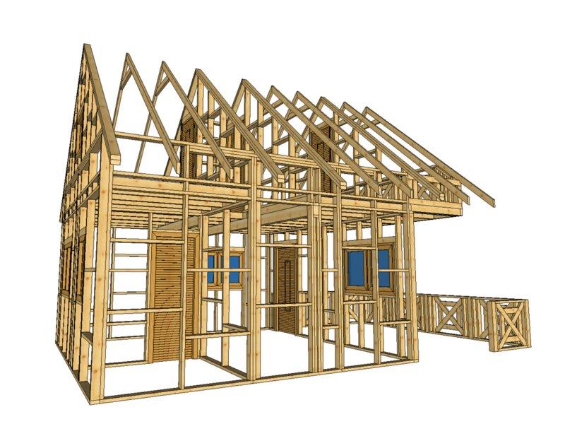 Domek z drewna swierkowego