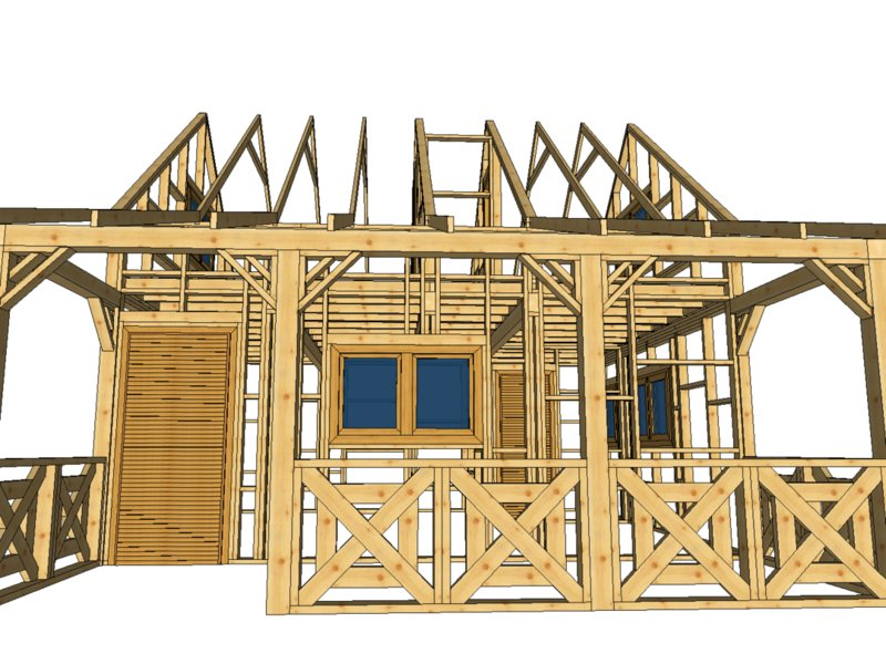 szkielet domku letniskowego piętrowego z tarasem na białym tle