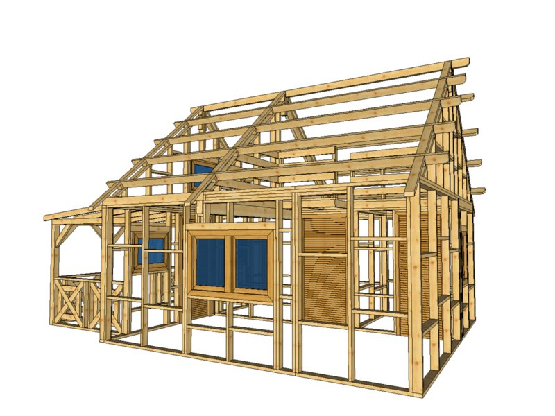 szkielet domku z dwoma oknami