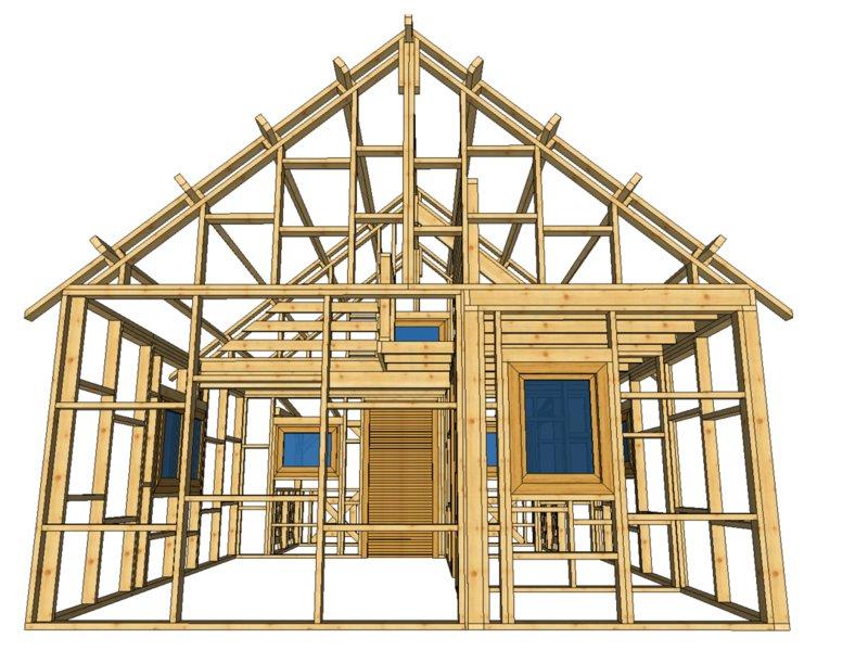 szkielet domku z jednym oknem