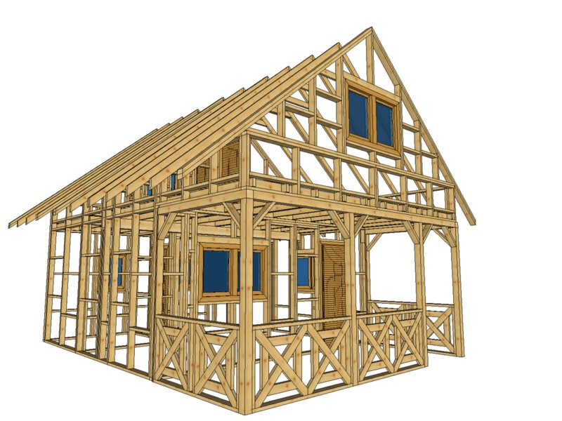 Szkielet domku budowa