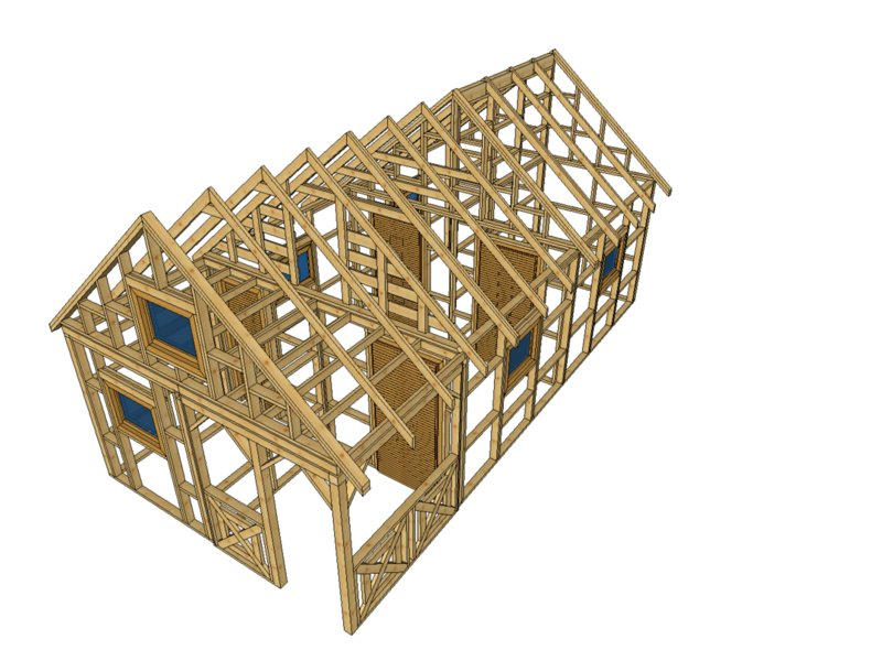 Szkieletowy domek drewniany