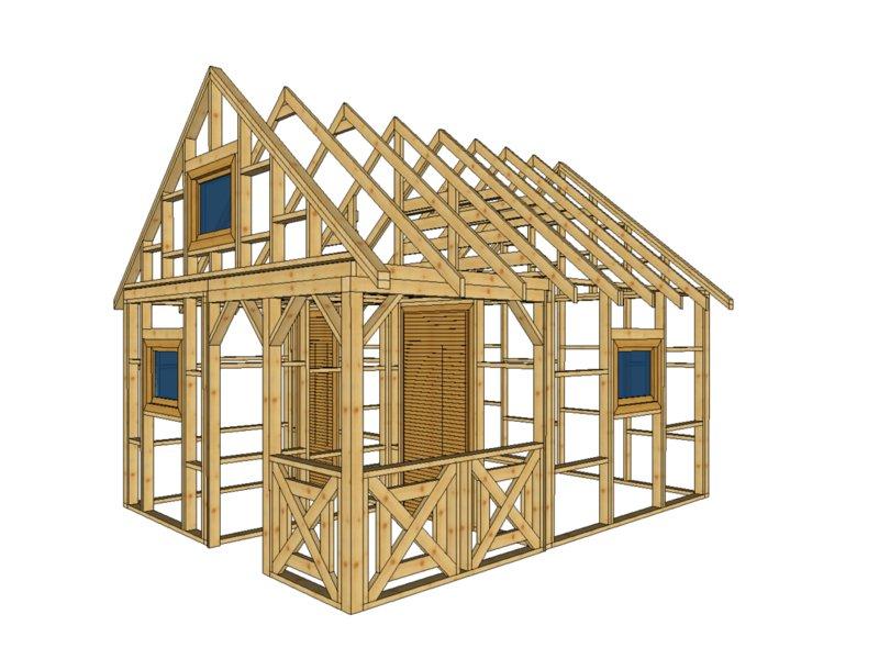 szkielet małego domku z przedsionkiem