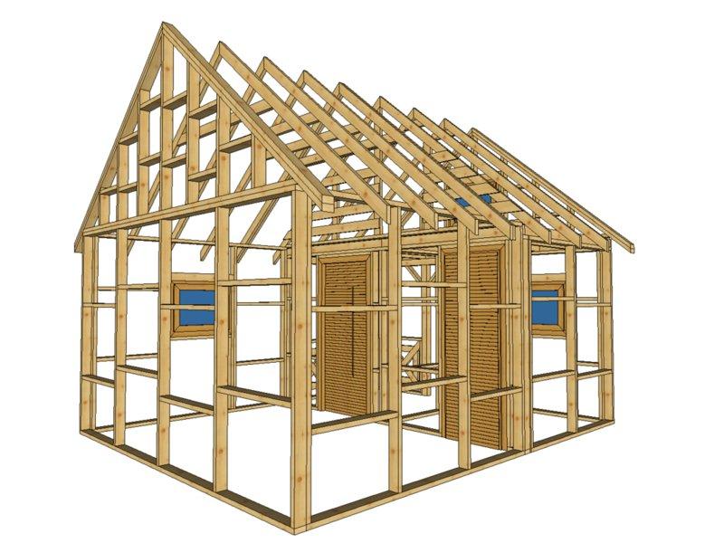 szkielet domku letniskowego na tle białym z dachem trójkątnym