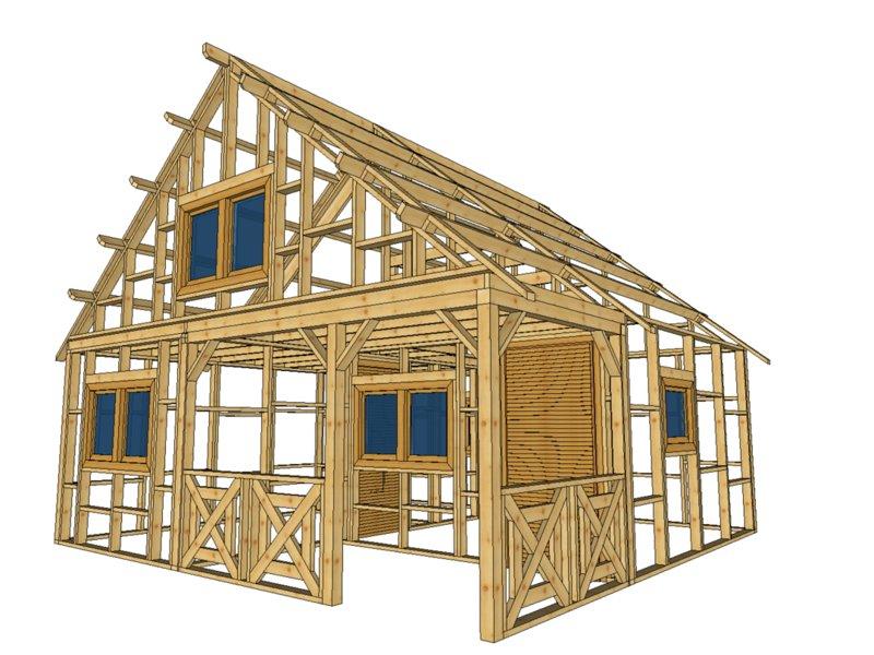 szkielet domku letniskowego z tarasem i piętrem
