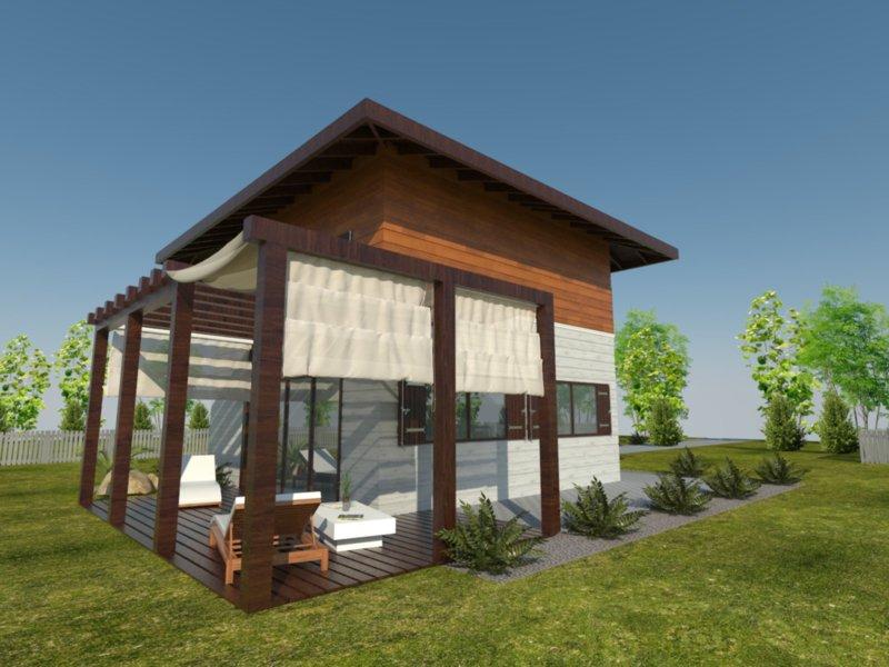 mały domek drewniany z pięknym białym tarasem