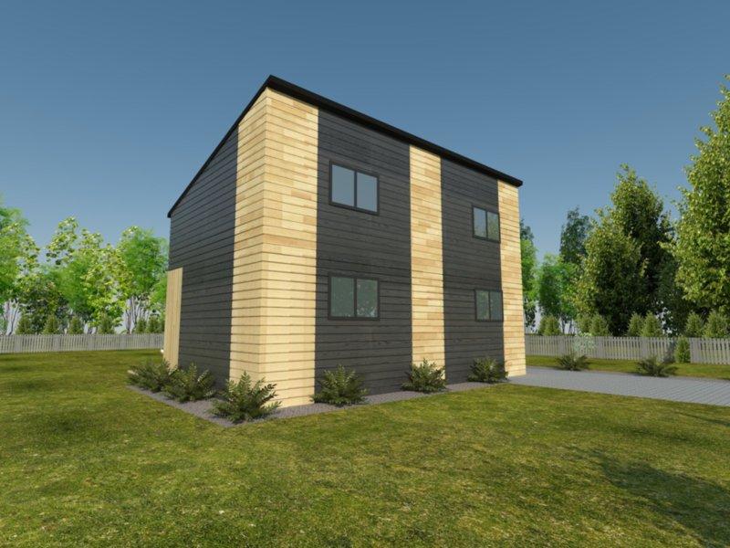 drewniany nowoczesny domek z drewna