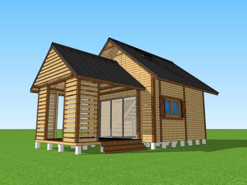 domek drewniany z altanką